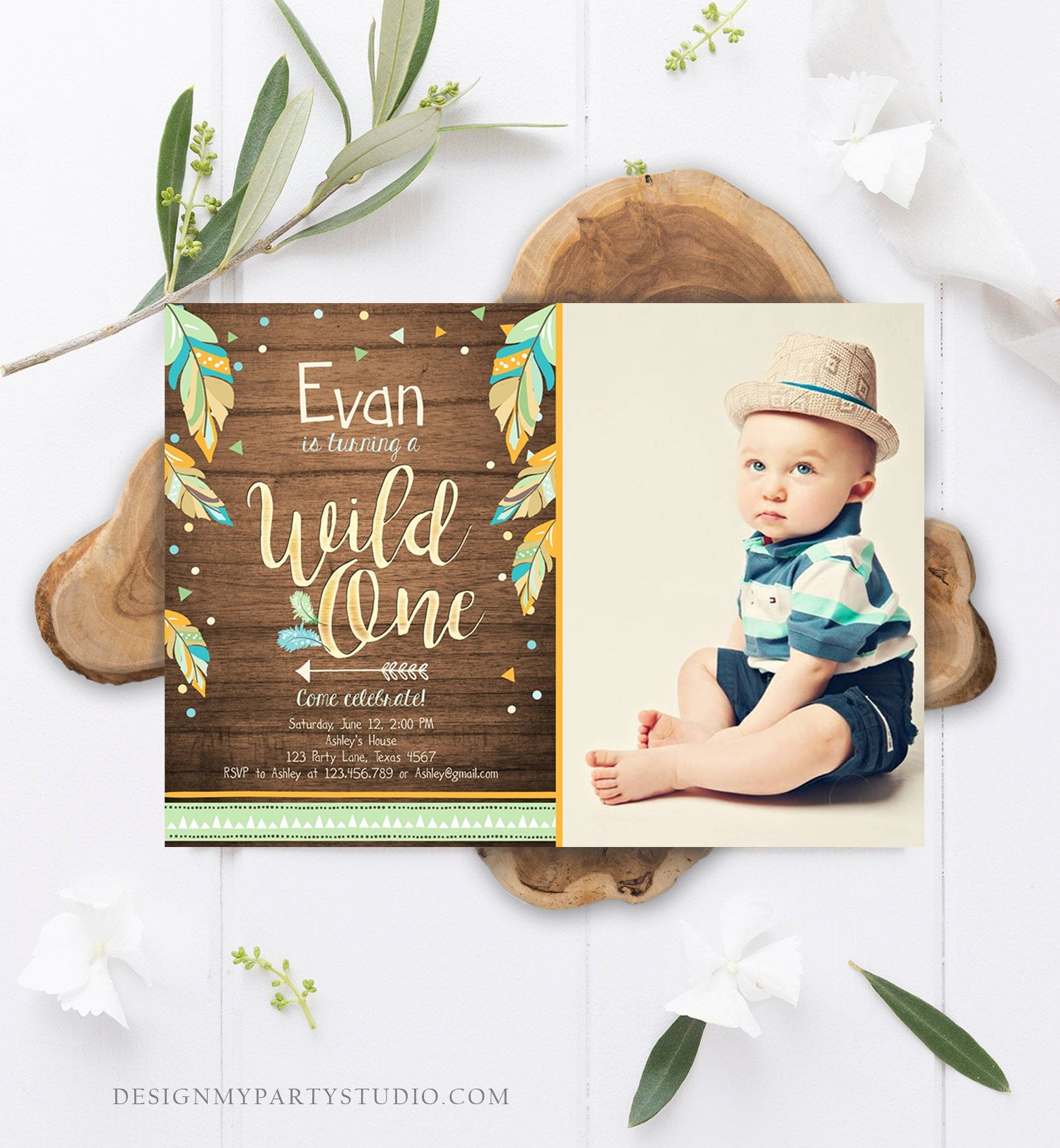 Editable Wild One Invitation Tribal Feathers Boy Green Teal Coral Mint Wood Gold First Birthday 1st Boho Photo Corjl Template Printable 0038