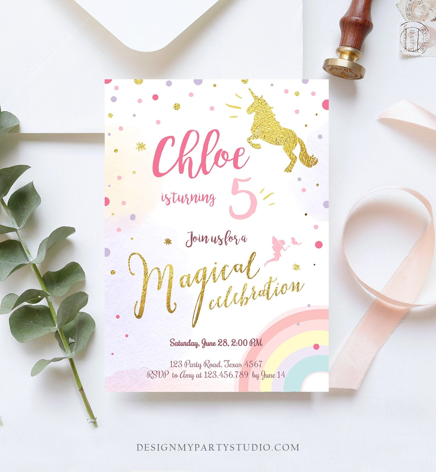 Editable Rainbow Unicorn Birthday Invitation Unicorn Magical Birthday Girl Gold Pink Instant Download Printable Template Digital Corjl 0041