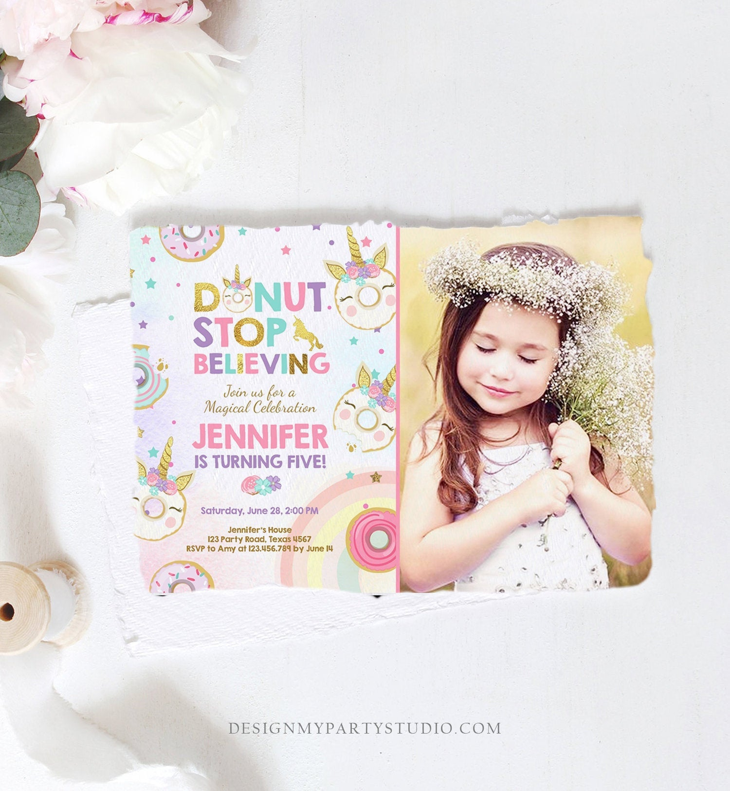 Editable Unicorn Donut Birthday Invitation Donut Stop Believing Magical Rainbow Girl Pink Purple Gold Glitter Printable Corjl Template 0041