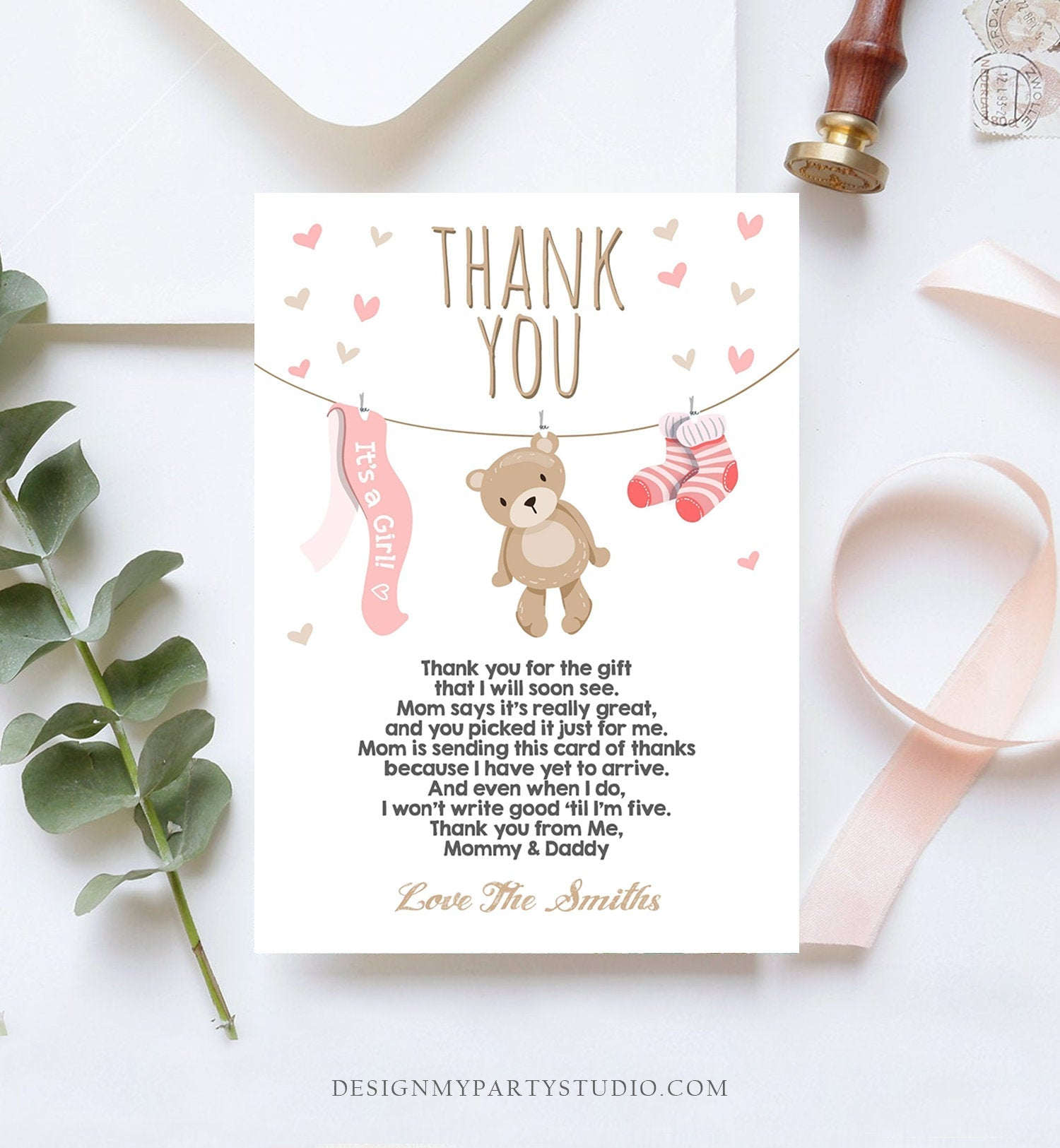 Editable Baby Shower Thank You Card Teddy Bear Thank You Note Shower Pink Girl Woodland Animals Template Instant Download Digital Corjl 0025