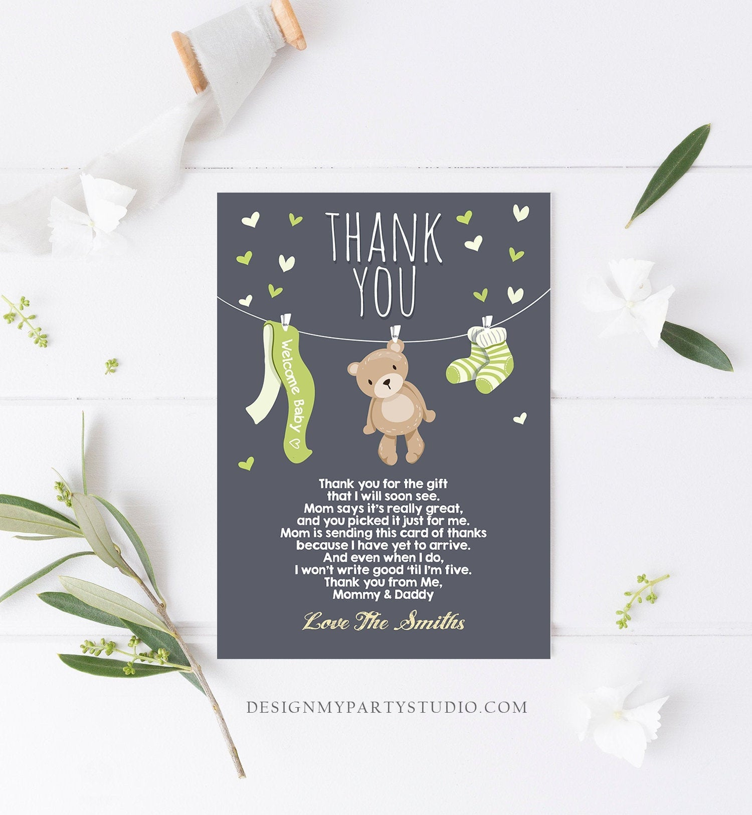 Editable Baby Shower Thank You Card Teddy Bear Thank You Note Shower Gender Neutral Green Woodland Animals Download Digital Corjl 0025