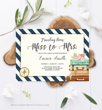Editable Bridal Shower Invitation Miss to Mrs Travel World Map Suitcase Vintage Adventure Download Printable Template Corjl Digital 0044