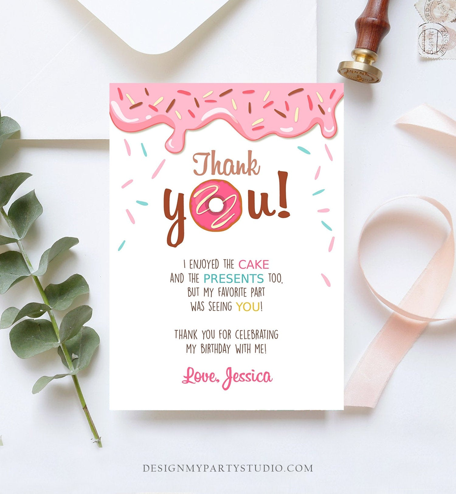 Editable Donut Thank You Card Note Pink Girl Birthday Party Doughnut Thank You Photo Sweet First Birthday 1st Corjl Template Printable 0050