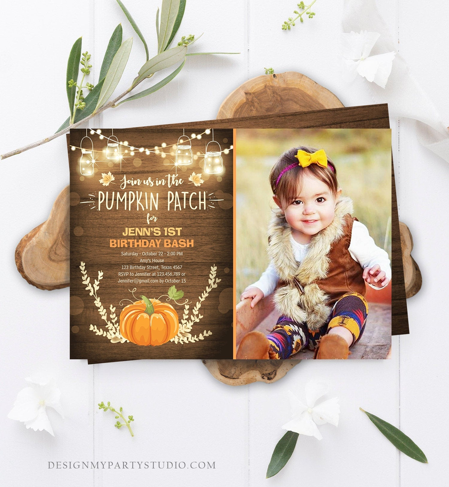Editable Little Pumpkin Birthday Invitation Orange Pumpkin Patch Autumn Fall Rustic Boy Girl First Birthday Corjl Invitation Printable 0015