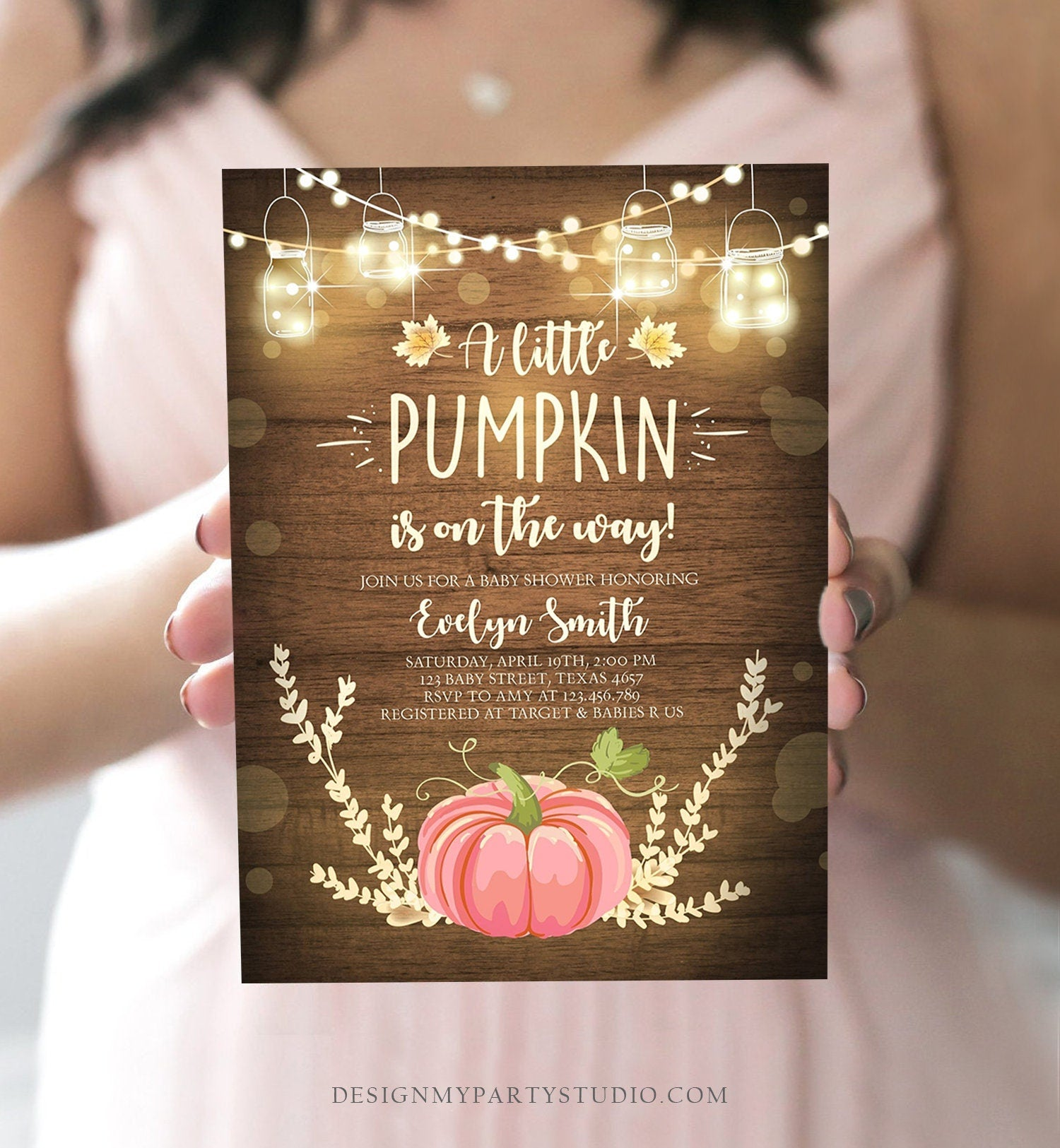 Editable Little Pumpkin Baby Shower Invitation Pink Pumpkin Patch Autumn Fall Rustic Baby Girl Sprinkle Corjl Template Printable 0015