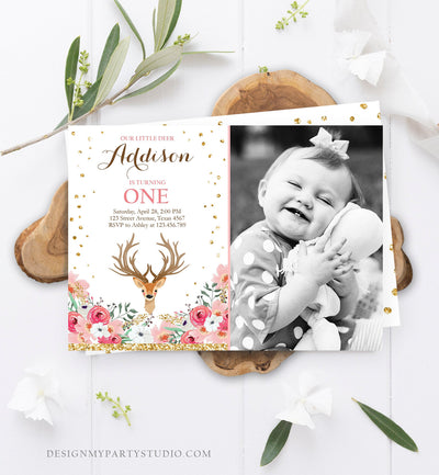 Editable Our Little Deer Birthday Invitation Pink Gold Girl Birthday Floral Woodland Antlers Download Printable Template Corjl Digital 0060