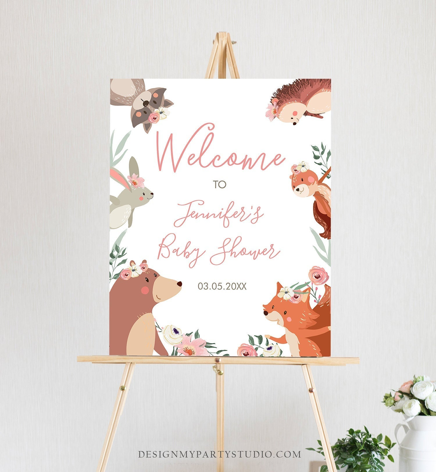 Editable Woodland Welcome Sign Woodland Baby Shower Welcome Girl Rustic Floral Boho Forest Animals Birthday Corjl Template PRINTABLE 0222