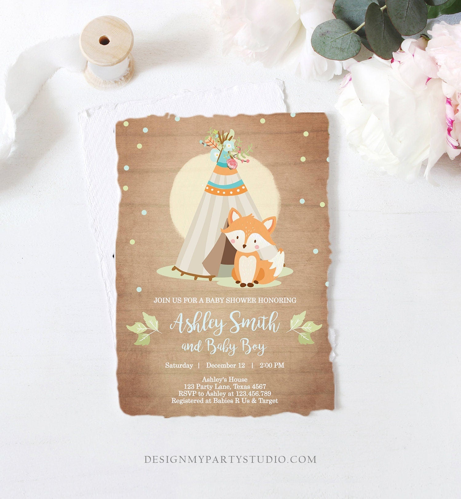 Editable Fox Baby Shower Invitation Woodland Teepee Boho Tribal Boy Baby Shower Blue Wood Download Printable Template Corjl Digital 0052