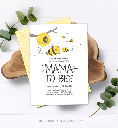 Editable Bee Baby Shower Invitation Mama to Bee Baby Shower Invite Honey Comb Hive Bees Download Printable Template Digital Corjl 0224