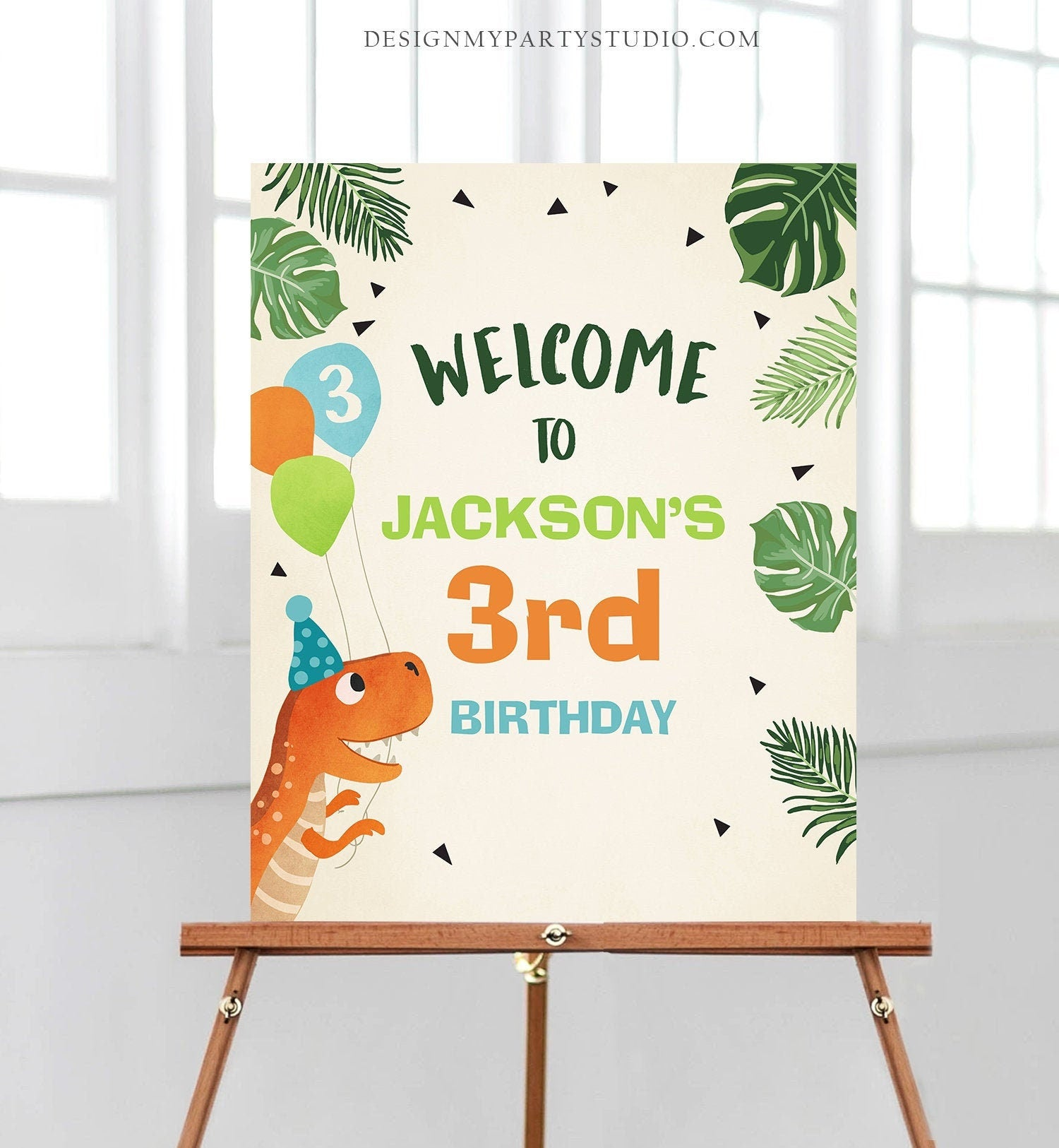Editable Dinosaur Welcome Sign Party Dinosaur Birthday Sign Fossil Dino Dig T-Rex Dino Prehistoric Party Boy Template PRINTABLE Corjl 0074