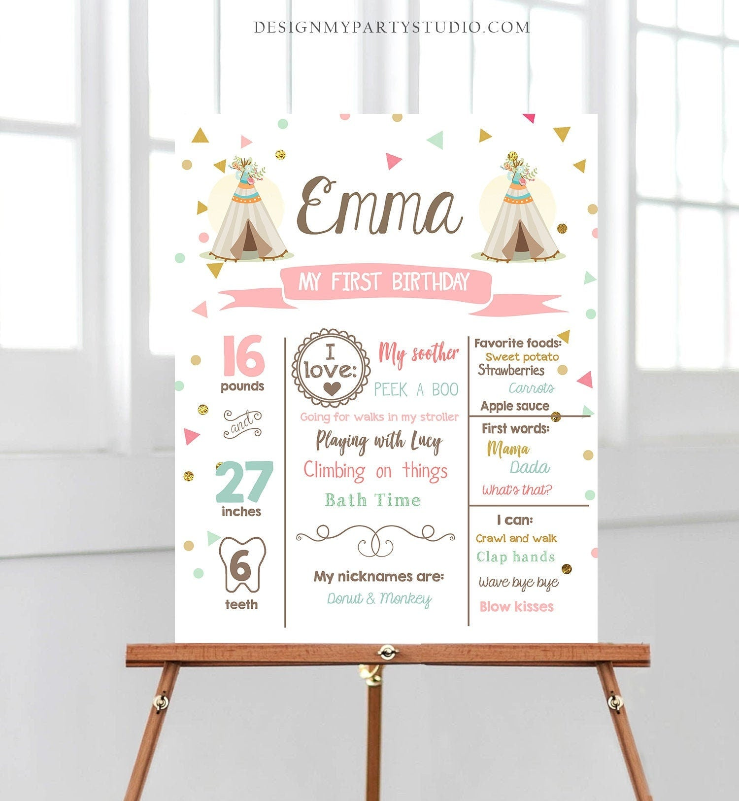 Editable Teepee Birthday Milestones Sign Wild One Tribal First Birthday 1st Birthday Girl Pink Gold Boho Download Template Printable 0092