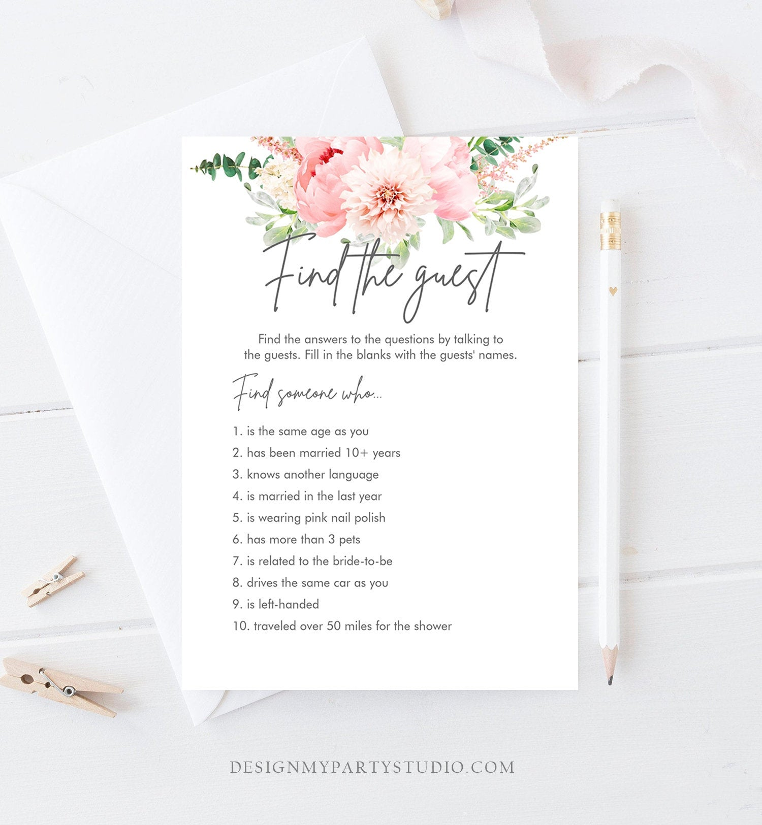 Editable Find The Guest Bridal Shower Game Botanical Flowers Floral Game Pink Peony Greenery Digital Download Corjl Template Printable 0167