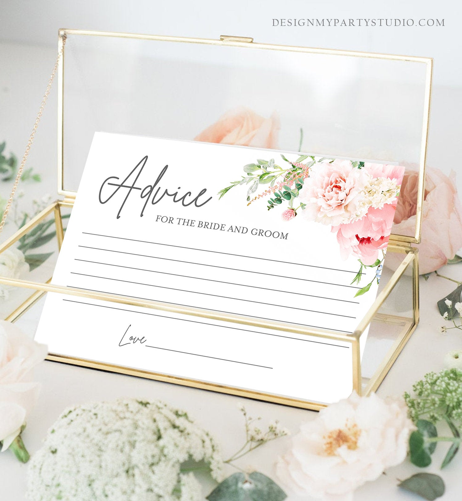Editable Advice for the Bride-to-Be Card Bridal Shower Words of Wisdom Advice for Bride Game Botanical Flowers Pink Corjl Template 0044