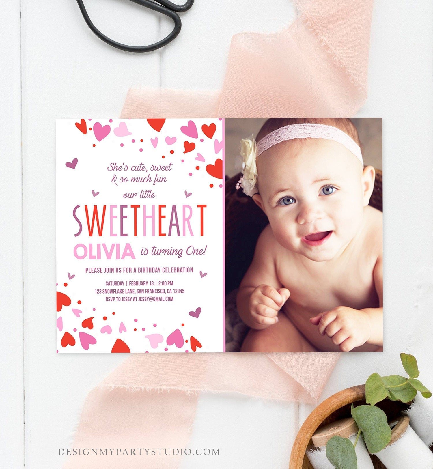 Editable Little Sweetheart Birthday Invitation Valentine Girl Hearts Pink Purple First Birthday 1st Download Corjl Template Printable 0288