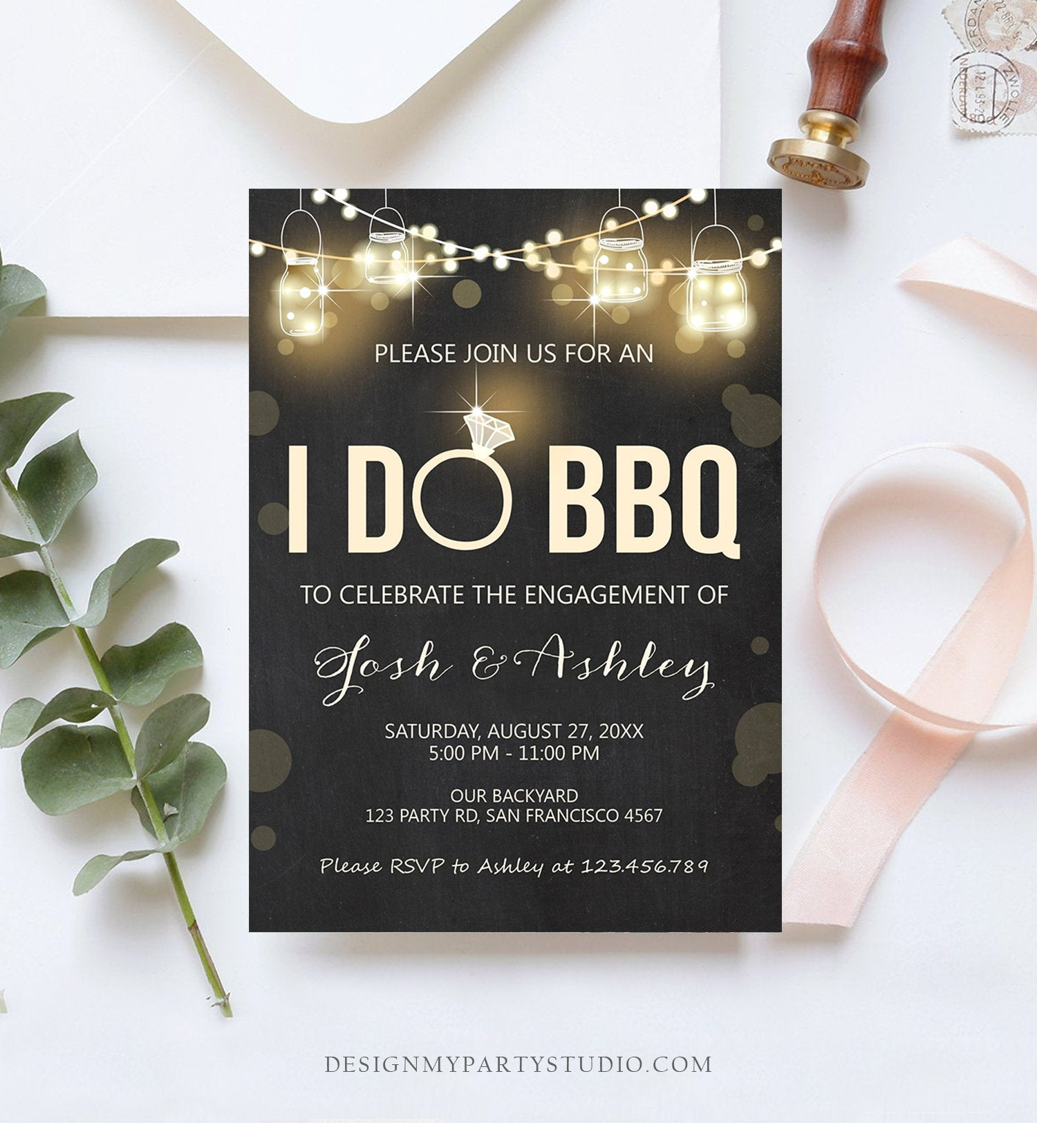 Editable I Do BBQ Invitation Couples Shower Invite Engagement Party Rustic Chalk Lights Jars Download Printable Template Corjl Digital 0015