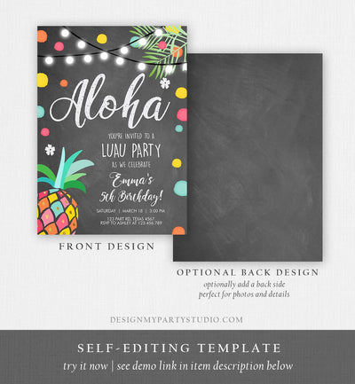 Editable Birthday Invitation Girl Aloha Pineapple Tropical Summer Party Beach Luau Party Hawaii Download Printable Template Corjl 0201