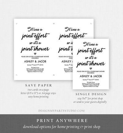 Editable Couples Baby Shower Invitation Coed Baby Shower Joint Funny White Modern Simple Neutral Download Printable Template Corjl 0311