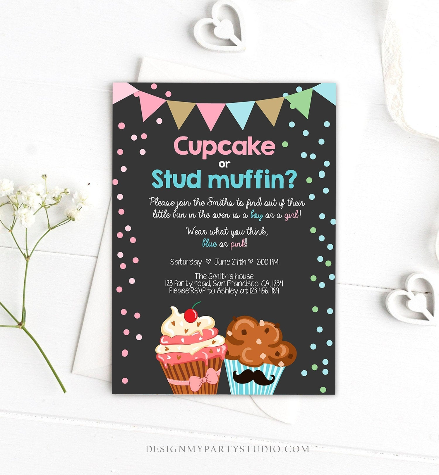 Editable Cupcake or Stud Muffin Gender Reveal Party Invitation Boy or Girl He or She Pink or Blue Download Editable Printable Corjl 0229