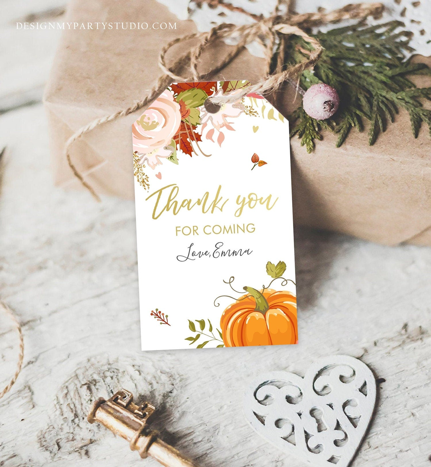 Editable Pumpkin Favor Tags Thank You Tag Fall In Love Bridal Shower Autumn Floral Flowers Pink Gold Orange Rustic Corjl Template 0176
