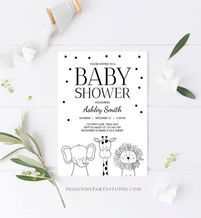 Editable Baby Shower Invitation Animals Cute Safari Animal Zoo Jungle Modern Gender Neutral Simple Template Download Digital Corjl 0039