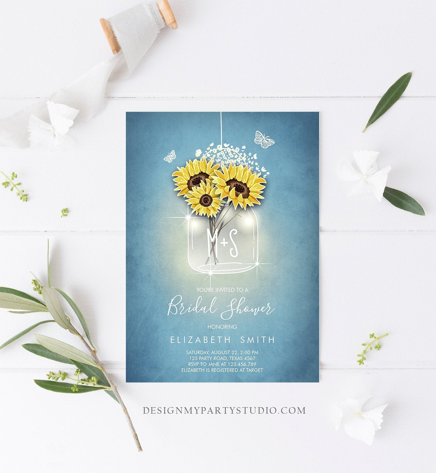 Editable Sunflowers Bridal Shower Invitation Rustic Sunflower Mason Jar Blue Spring Butterfly Download Printable Template Corjl Digital 0116