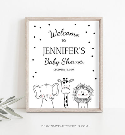 Editable Safari Animals Welcome Sign Black and White Zoo Baby Shower Welcome Sign Jungle Birthday Welcome Template PRINTABLE Corjl 0039