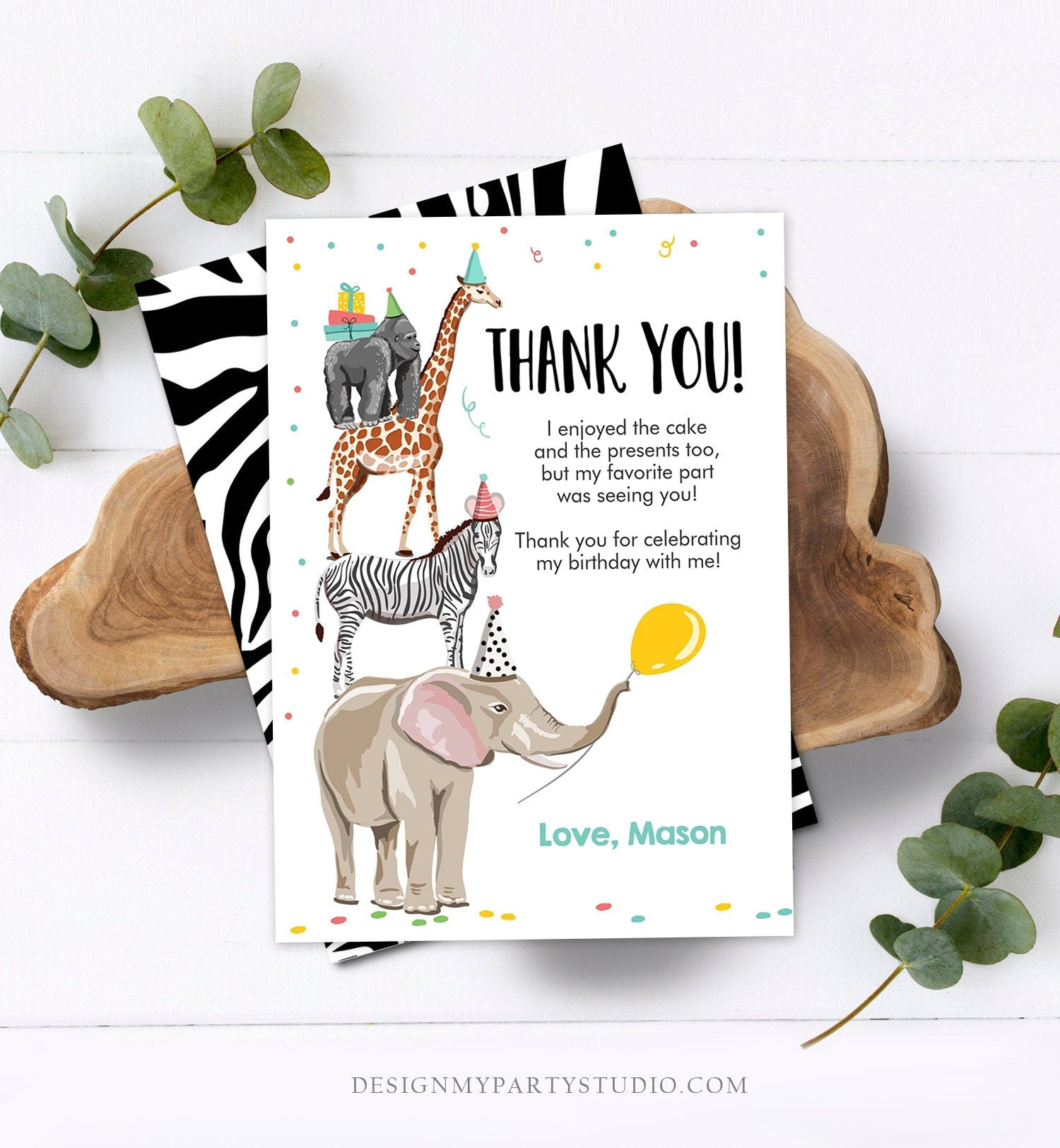 Editable Thank You Card Party Animals Thank you Note Wild Safari Animals Boy Jungle Zoo Download Printable Template Digital Corjl 0142