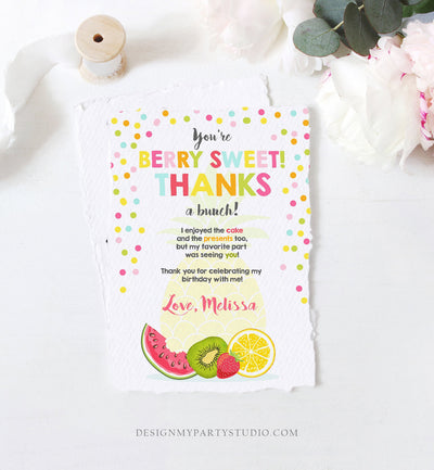 Editable Fruit Thank You Card Two-tti Frutti Party Birthday Pineapple Melon Orange Tutti Frutti  Download Printable Corjl Template 0205