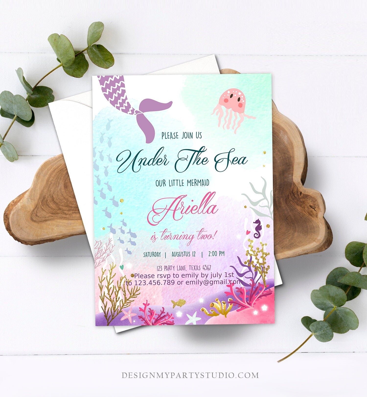 Editable Under The Sea Birthday Invitation First Birthday Mermaid Tail Invite Girl Pink Purple Gold Download Printable  Template Corjl 0076