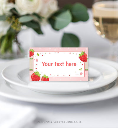 Editable Strawberry Food Labels Strawberry Birthday Party Place Card Food Tents Farmers Market Fruit Berry Sweet Girl Template Corjl 0091