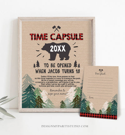 Editable Lumberjack Time Capsule First Birthday Party Game Bear Trees Buffalo Plaid Guestbook Digital Download Corjl Template Printable 0026