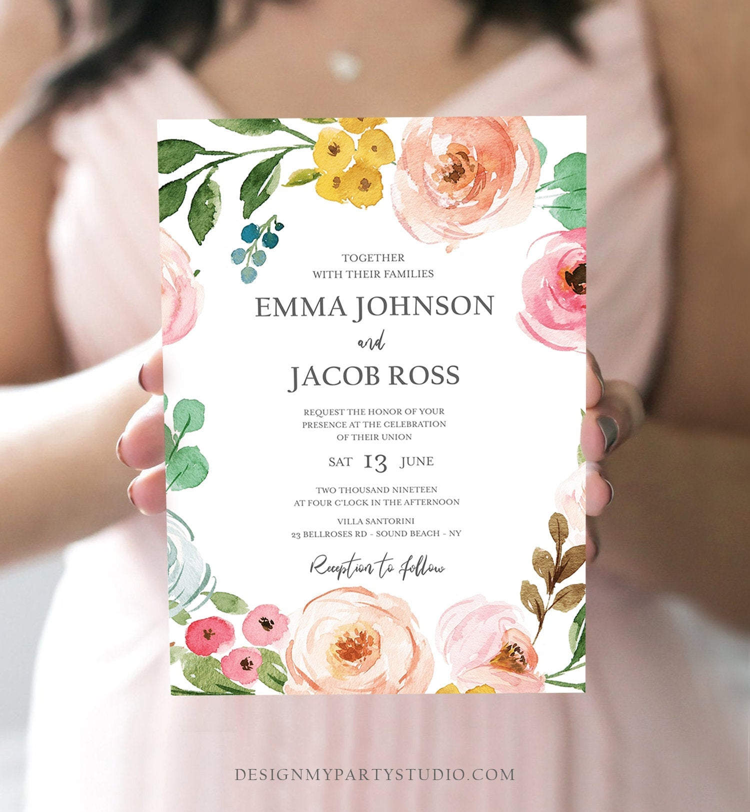 Editable Floral Wedding Invitation Bohemian Pink Floral Greenery Botanical Flowers Boho Vintage Download Corjl Template Printable 0166