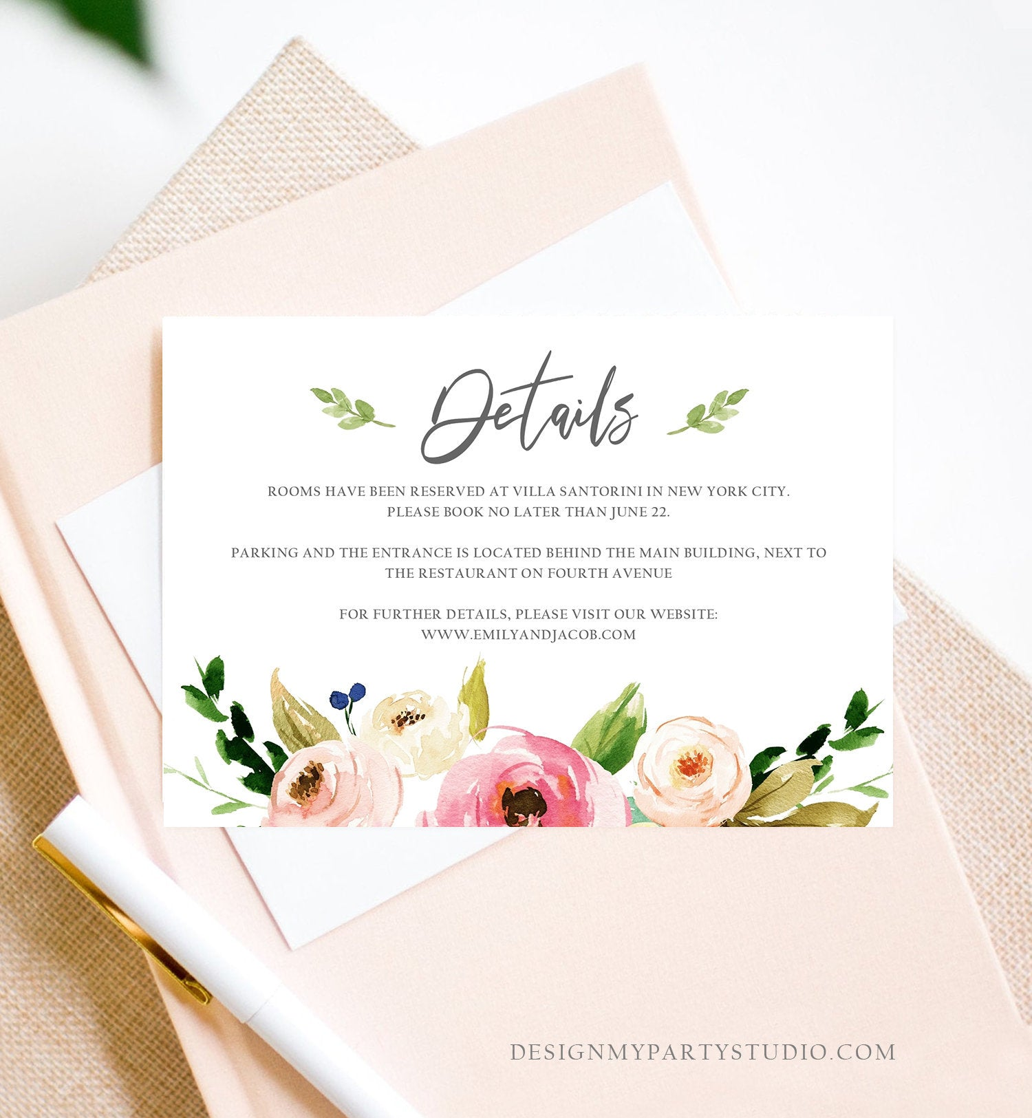 Editable Floral Details Card Wedding Bridal Shower Greenery Boho Information Card Enclosure Card Insert Card Corjl Template Printable 0166