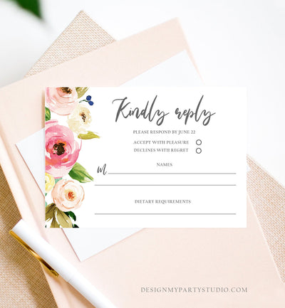 Editable Floral RSVP Card Wedding Pink Flowers Blush Watercolor Greenery Kindly Reply Bohemian Download Corjl Template Printable 0166