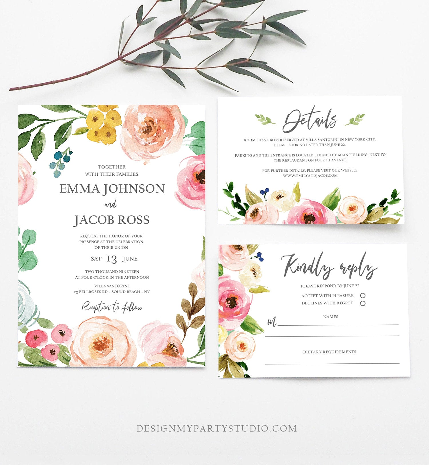 Editable Floral Wedding Invitation Suite Set Bohemian Flowers Botanical Watercolor Pink Floral Wreath Download Corjl Template Printable 0166