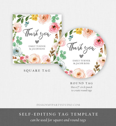 Editable Floral Favor Tag Round Square Bohemian Floral Pink Flowers Wedding Thank You Tag Bridal Shower Corjl Template Printable 0166