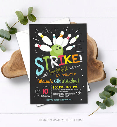 Editable Bowling Birthday Invitation Boys Red Blue Bowling Party Strike Kids Birthday Instant Download Printable Invite Template Corjl 0081