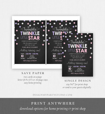 Editable Twinkle Little Star Birthday Invitation Pink Purple Silver Girl First Birthday Chalk Stars Download Corjl Template Printable 0028
