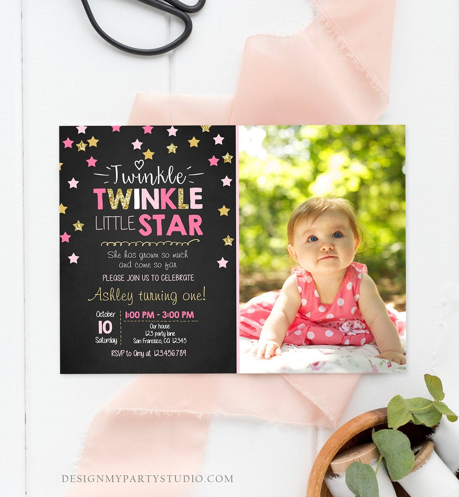 Editable Twinkle Little Star Birthday Invitation Pink Gold Photo Girl First Birthday Chalk Stars Download Corjl Template Printable 0028