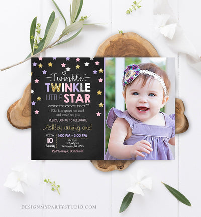 Editable Twinkle Little Star Birthday Invitation Pink Purple Gold Girl First Birthday Chalk Stars Download Corjl Template Printable 0028