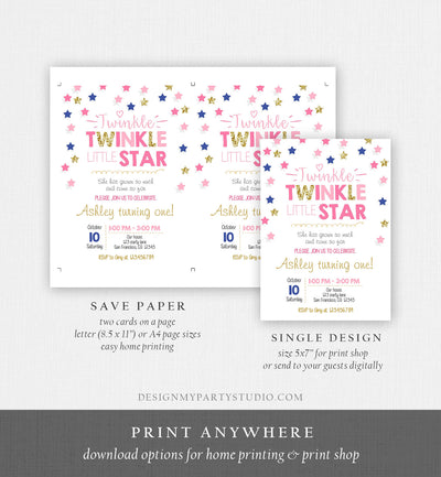 Editable Twinkle Little Star Birthday Invitation Pink Navy Blue Gold Girl First Birthday Chalk Stars Download Corjl Template Printable 0028