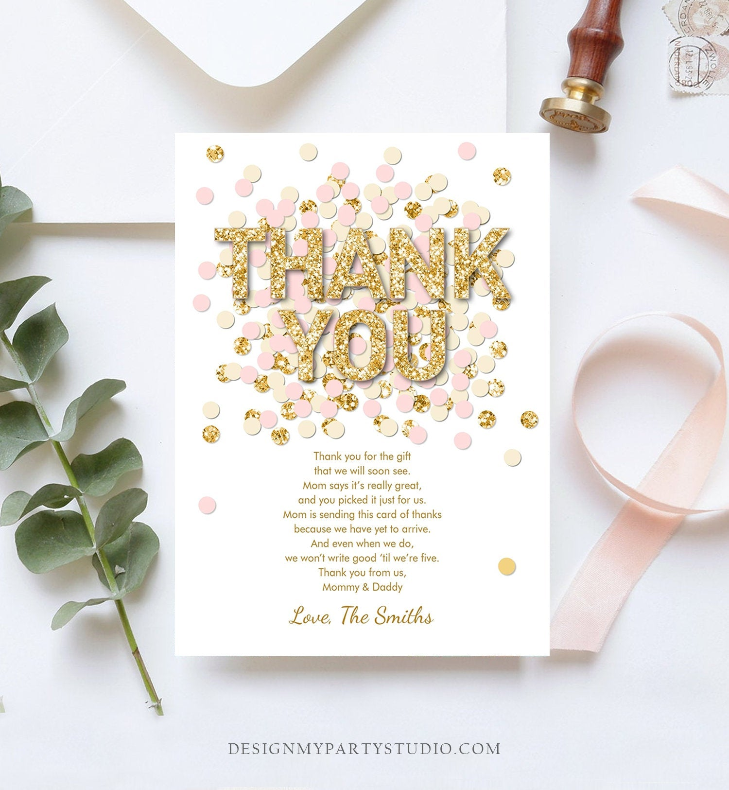Editable Confetti Thank You Card Baby Shower Birthday Thank You Note Pink Gold Glitter Girl Download Corjl Template Printable 0114