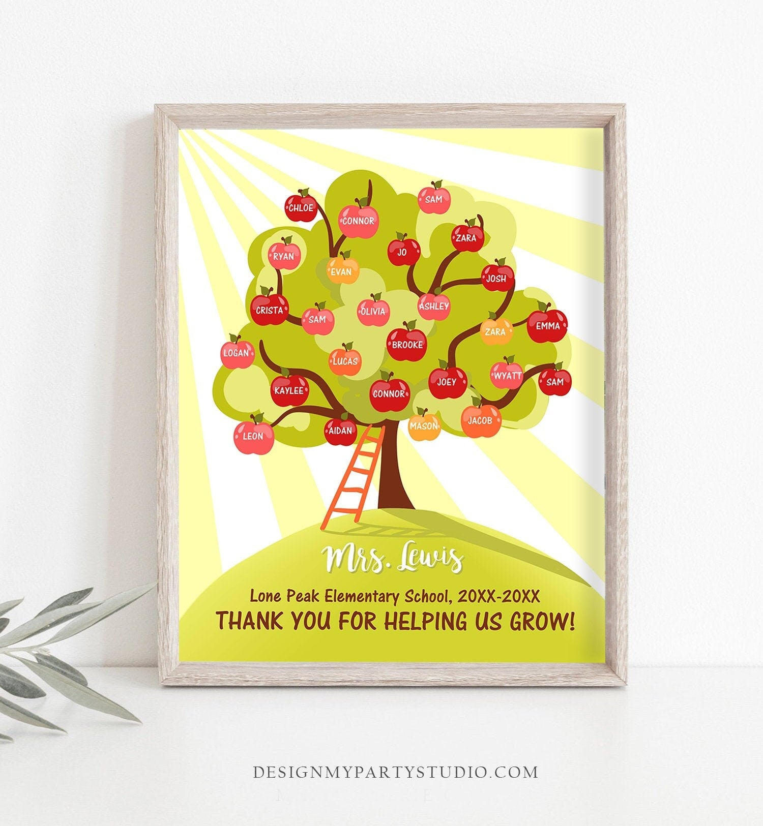 Editable Teacher Tree Print Student Names End of Year Gift Teacher Apples Appreciation Printable Instant Download Template Corjl 0140