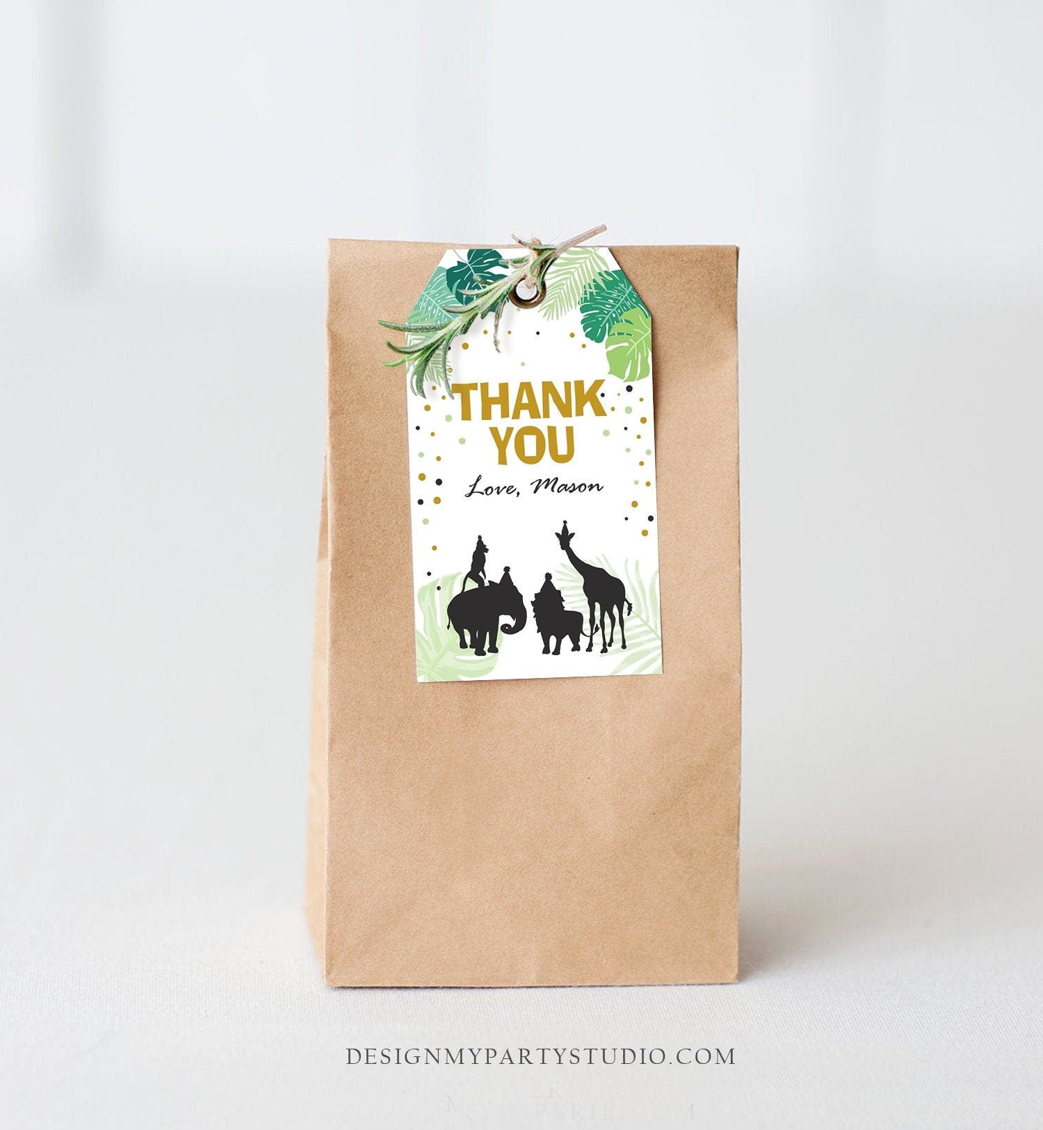 Editable Safari Animals Favor Tag Thank You Tags Wild One Wild Animals Jungle Zoo Download Black Gold Leaves Corjl Template Printable 0068