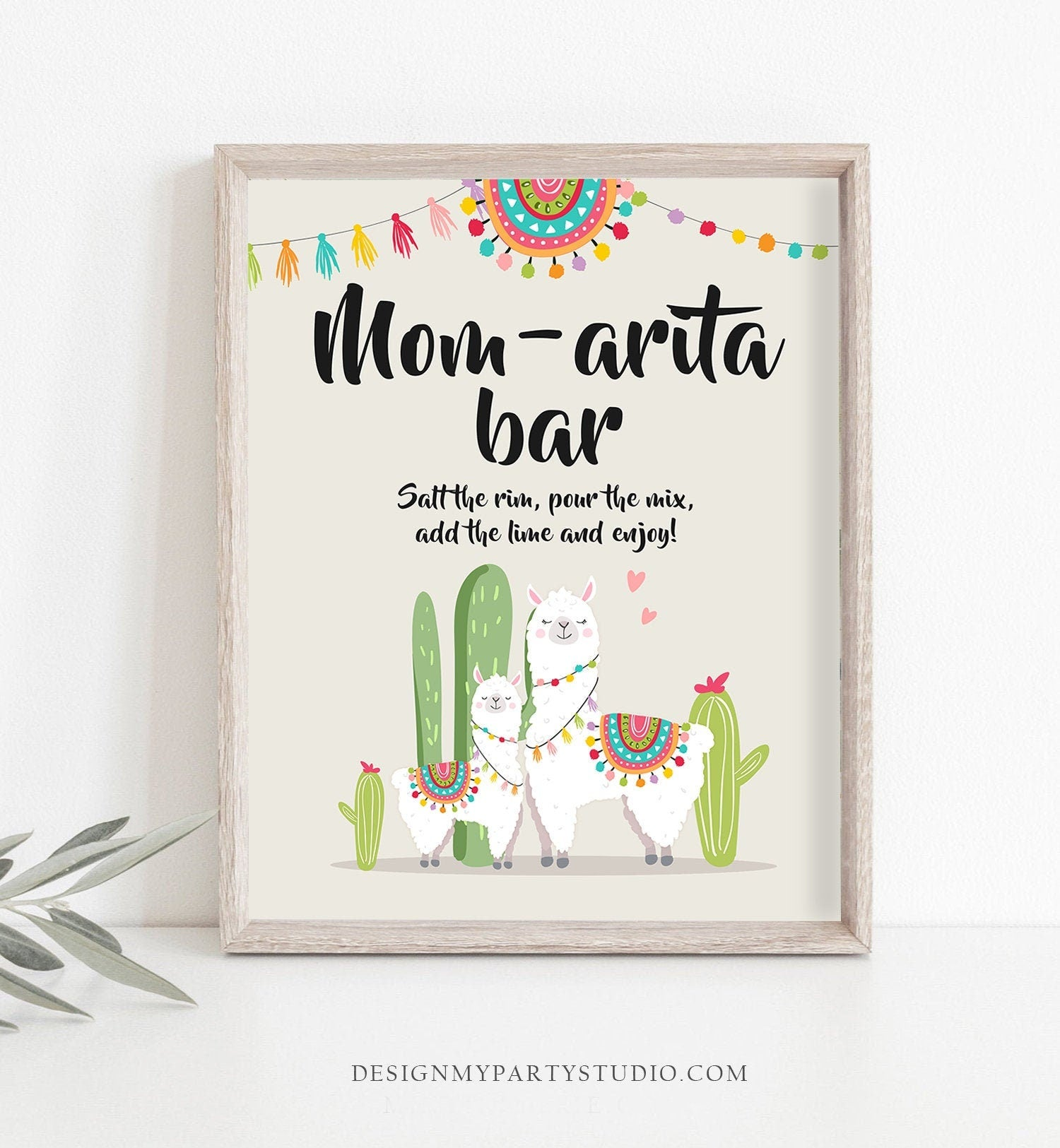 Llama Mom-arita Bar Sign Fiesta Margarita Mom-a-rita Baby Shower Couples Shower Decor Cactus Mexican Table Sign 8x10 Download Printable 0079