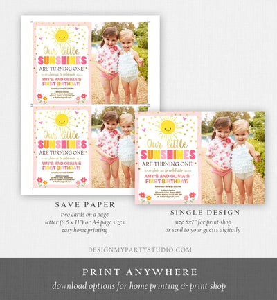 Editable Birthday Invitation Twins Little Sunshines Girls Siblings Pink Gold Girl Summer Download Printable Invitation Template Corjl 0070