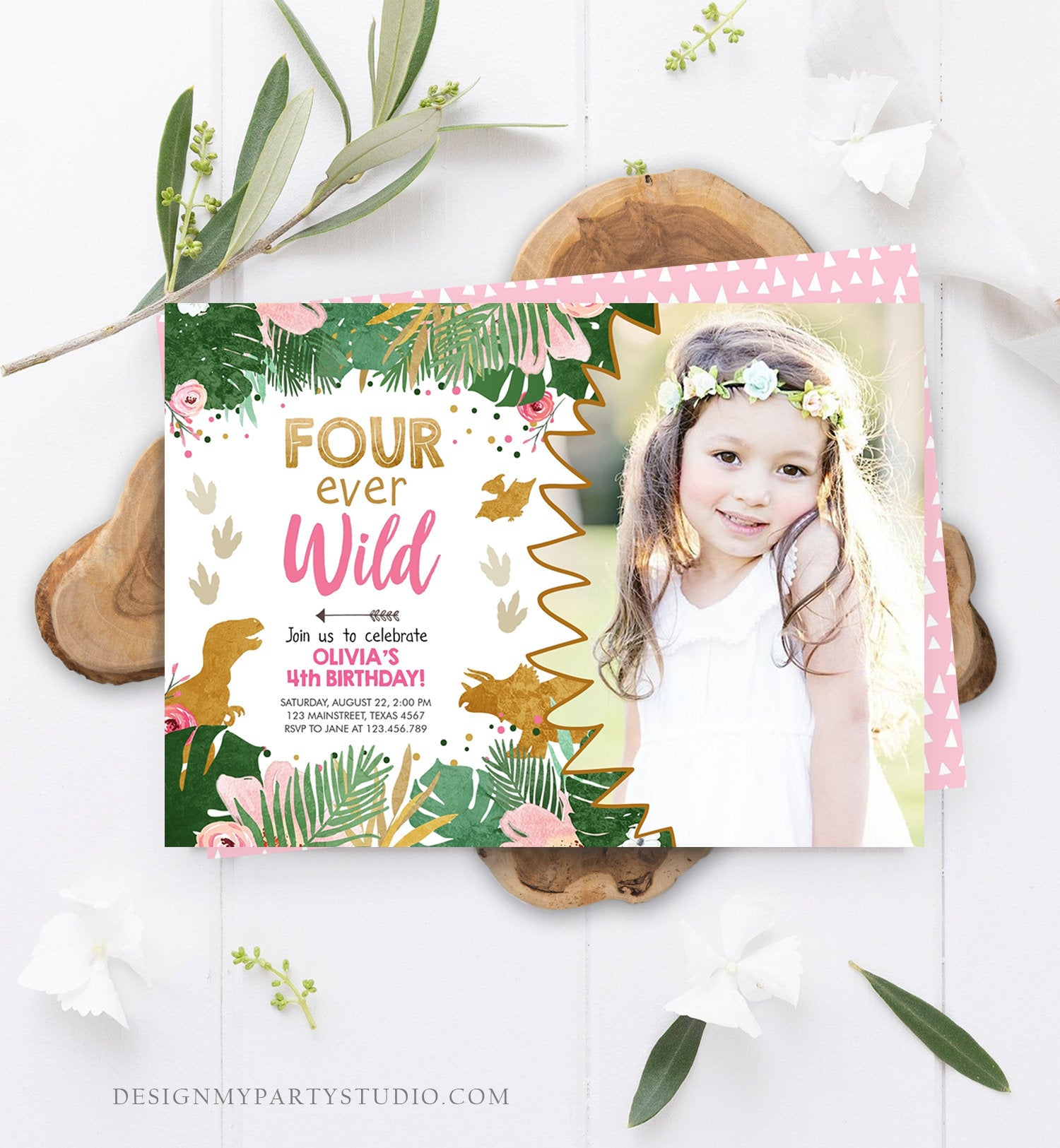 Editable Four Ever Wild Birthday Invitation Dinosaur Dino Party Girl 4th Fourth Birthday Pink Gold Fourever Corjl Template Printable 0146