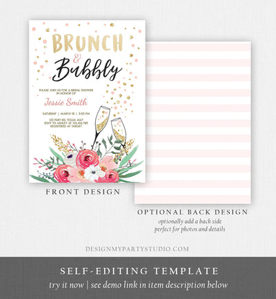 Editable Brunch and Bubbly Bridal Shower Invitation Floral Champagne Gold Pink Wedding Download Printable Template Digital Corjl 0318