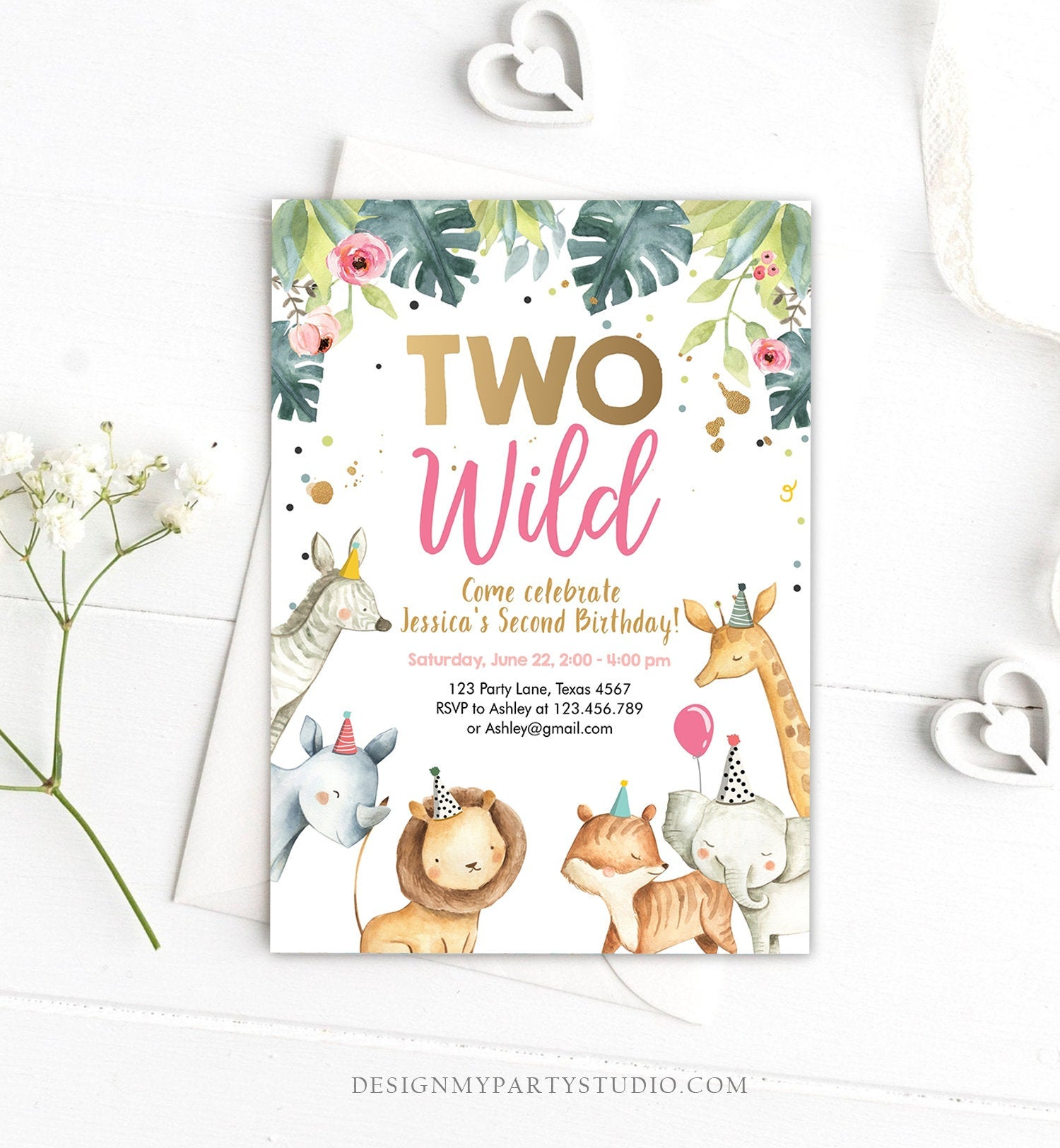 Editable Birthday Invitation Girl Two Wild Animals Invite Pink and Gold Safari Zoo Instant Download Printable Template Digital Corjl 0163