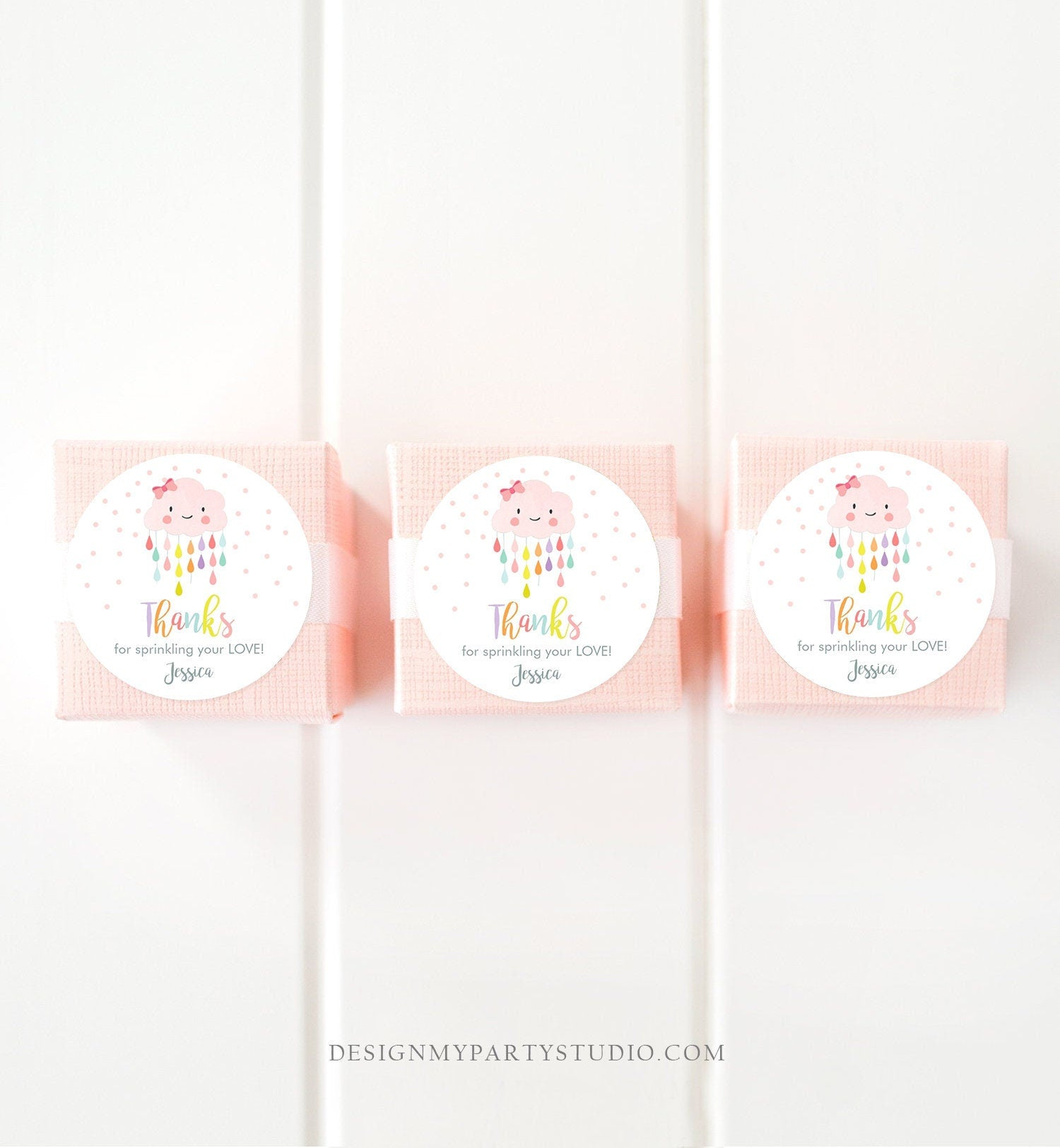 Editable Cloud Baby Shower Favor Tag Pink Bow Round Square Labels Cloud Thank You Tag Stickers Raindrops Sprinkle Shower Template Corjl 0036